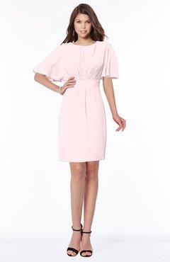 ColsBM Talia Petal Pink Luxury A-line Short Sleeve Zip up Chiffon Pleated Bridesmaid Dresses