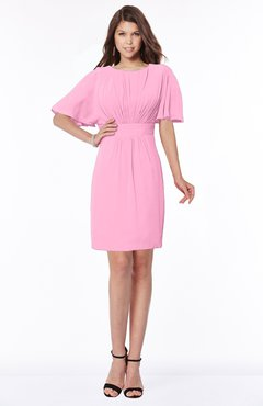 ColsBM Talia Pink Luxury A-line Short Sleeve Zip up Chiffon Pleated Bridesmaid Dresses
