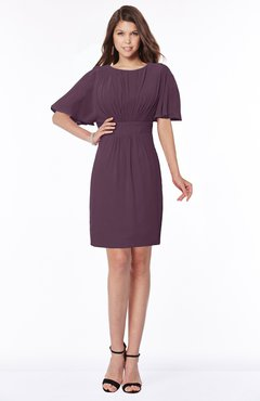 ColsBM Talia Plum Luxury A-line Short Sleeve Zip up Chiffon Pleated Bridesmaid Dresses