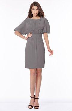 ColsBM Talia Ridge Grey Luxury A-line Short Sleeve Zip up Chiffon Pleated Bridesmaid Dresses