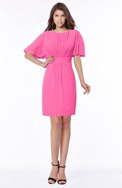 ColsBM Talia Rose Pink Luxury A-line Short Sleeve Zip up Chiffon Pleated Bridesmaid Dresses