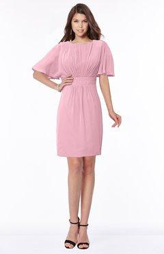Luxury A-line Short Sleeve Zip up Chiffon Pleated Bridesmaid Dresses