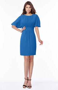 ColsBM Talia Royal Blue Luxury A-line Short Sleeve Zip up Chiffon Pleated Bridesmaid Dresses