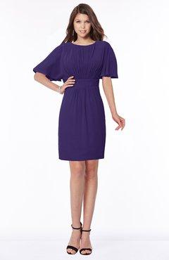 ColsBM Talia Royal Purple Luxury A-line Short Sleeve Zip up Chiffon Pleated Bridesmaid Dresses