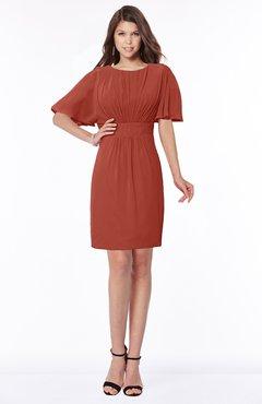 b775fc793e6 ColsBM Talia Rust Luxury A-line Short Sleeve Zip up Chiffon Pleated  Bridesmaid Dresses