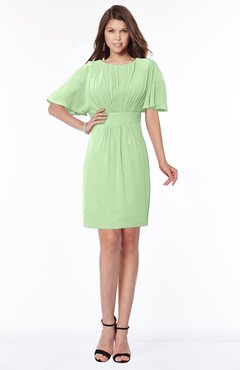 ColsBM Talia Sage Green Luxury A-line Short Sleeve Zip up Chiffon Pleated Bridesmaid Dresses