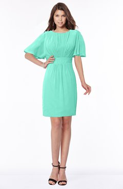 ColsBM Talia Seafoam Green Luxury A-line Short Sleeve Zip up Chiffon Pleated Bridesmaid Dresses