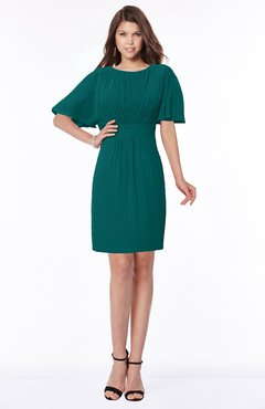 ColsBM Talia Shaded Spruce Luxury A-line Short Sleeve Zip up Chiffon Pleated Bridesmaid Dresses