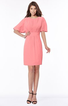 ColsBM Talia Shell Pink Luxury A-line Short Sleeve Zip up Chiffon Pleated Bridesmaid Dresses
