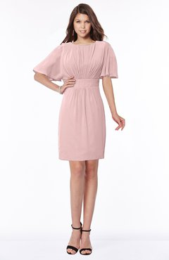 ColsBM Talia Silver Pink Luxury A-line Short Sleeve Zip up Chiffon Pleated Bridesmaid Dresses