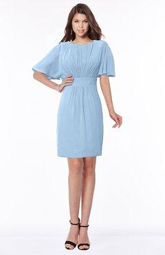 ColsBM Talia Sky Blue Luxury A-line Short Sleeve Zip up Chiffon Pleated Bridesmaid Dresses