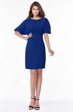 ColsBM Talia Sodalite Blue Luxury A-line Short Sleeve Zip up Chiffon Pleated Bridesmaid Dresses