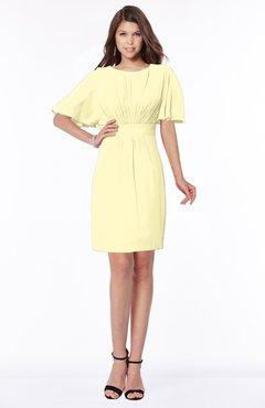 ColsBM Talia Soft Yellow Luxury A-line Short Sleeve Zip up Chiffon Pleated Bridesmaid Dresses