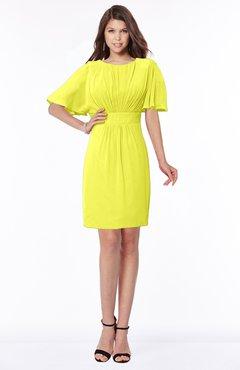 ColsBM Talia Sulphur Spring Luxury A-line Short Sleeve Zip up Chiffon Pleated Bridesmaid Dresses