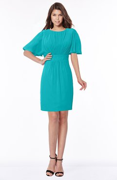 ColsBM Talia Teal Luxury A-line Short Sleeve Zip up Chiffon Pleated Bridesmaid Dresses