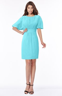 ColsBM Talia Turquoise Luxury A-line Short Sleeve Zip up Chiffon Pleated Bridesmaid Dresses