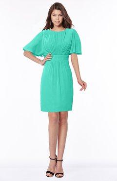 ColsBM Talia Viridian Green Luxury A-line Short Sleeve Zip up Chiffon Pleated Bridesmaid Dresses