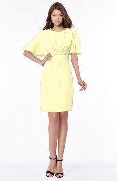 ColsBM Talia Wax Yellow Luxury A-line Short Sleeve Zip up Chiffon Pleated Bridesmaid Dresses