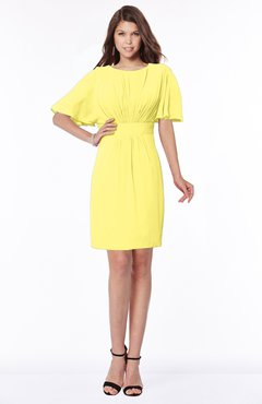 ColsBM Talia Yellow Iris Luxury A-line Short Sleeve Zip up Chiffon Pleated Bridesmaid Dresses