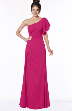 ColsBM Naomi Beetroot Purple Glamorous A-line Short Sleeve Half Backless Chiffon Floor Length Bridesmaid Dresses