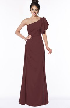 ColsBM Naomi Burgundy Glamorous A-line Short Sleeve Half Backless Chiffon Floor Length Bridesmaid Dresses