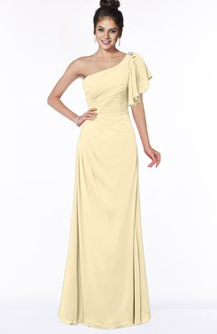 ColsBM Naomi Cornhusk Glamorous A-line Short Sleeve Half Backless Chiffon Floor Length Bridesmaid Dresses