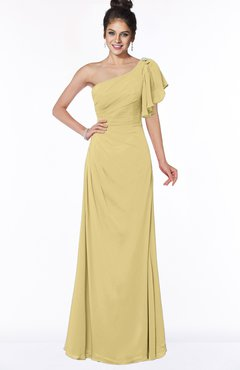 ColsBM Naomi Gold Glamorous A-line Short Sleeve Half Backless Chiffon Floor Length Bridesmaid Dresses