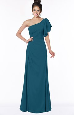 ColsBM Naomi Moroccan Blue Glamorous A-line Short Sleeve Half Backless Chiffon Floor Length Bridesmaid Dresses