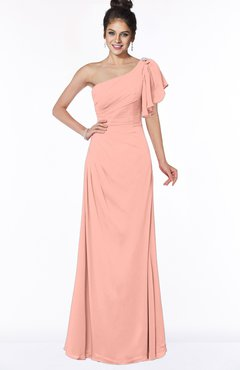 ColsBM Naomi Peach Glamorous A-line Short Sleeve Half Backless Chiffon Floor Length Bridesmaid Dresses