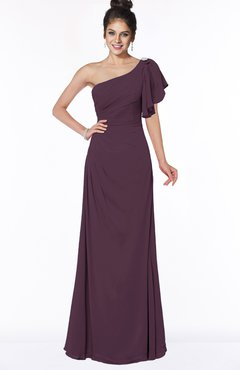 ColsBM Naomi Plum Glamorous A-line Short Sleeve Half Backless Chiffon Floor Length Bridesmaid Dresses