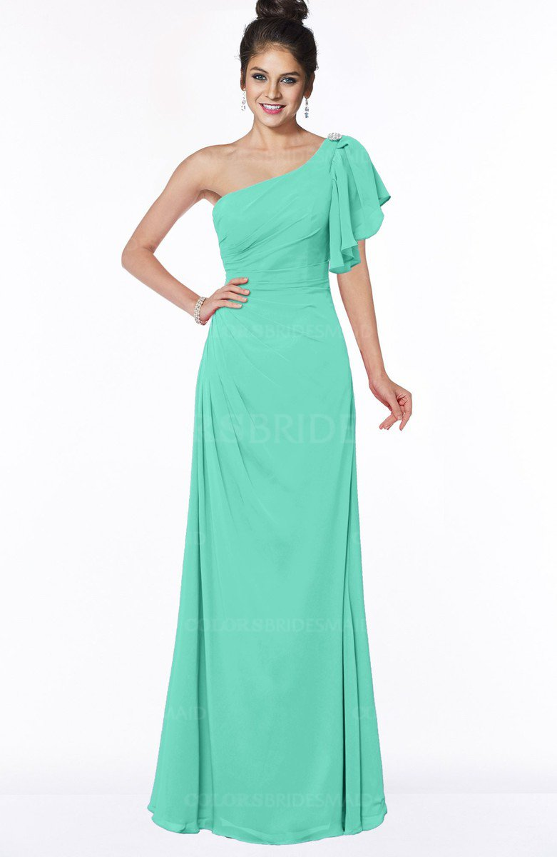 f54e3a87894 ColsBM Naomi Seafoam Green Glamorous A-line Short Sleeve Half Backless  Chiffon Floor Length Bridesmaid