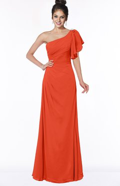 ColsBM Naomi Tangerine Tango Glamorous A-line Short Sleeve Half Backless Chiffon Floor Length Bridesmaid Dresses
