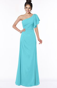 ColsBM Naomi Turquoise Glamorous A-line Short Sleeve Half Backless Chiffon Floor Length Bridesmaid Dresses