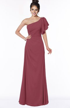 ColsBM Naomi Wine Glamorous A-line Short Sleeve Half Backless Chiffon Floor Length Bridesmaid Dresses