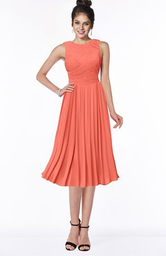 ColsBM Aileen Fusion Coral Gorgeous A-line Sleeveless Chiffon Pick up Bridesmaid Dresses