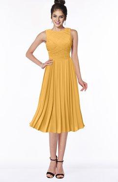 ColsBM Aileen Golden Cream Gorgeous A-line Sleeveless Chiffon Pick up Bridesmaid Dresses