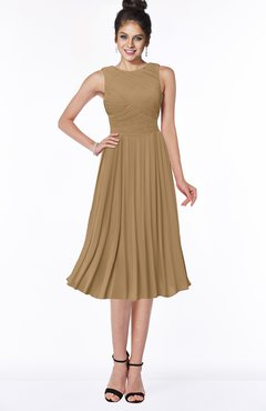 ColsBM Aileen Indian Tan Gorgeous A-line Sleeveless Chiffon Pick up Bridesmaid Dresses