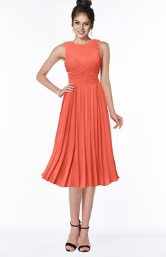ColsBM Aileen Living Coral Gorgeous A-line Sleeveless Chiffon Pick up Bridesmaid Dresses