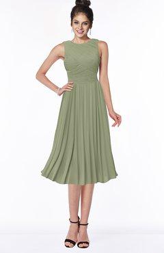 ColsBM Aileen Moss Green Gorgeous A-line Sleeveless Chiffon Pick up Bridesmaid Dresses