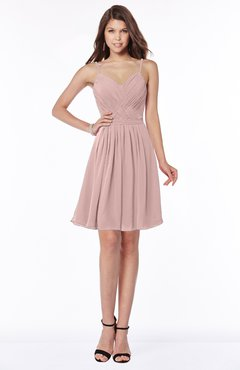 ColsBM Vera Blush Pink Modest A-line Sleeveless Zip up Knee Length Ruching Bridesmaid Dresses