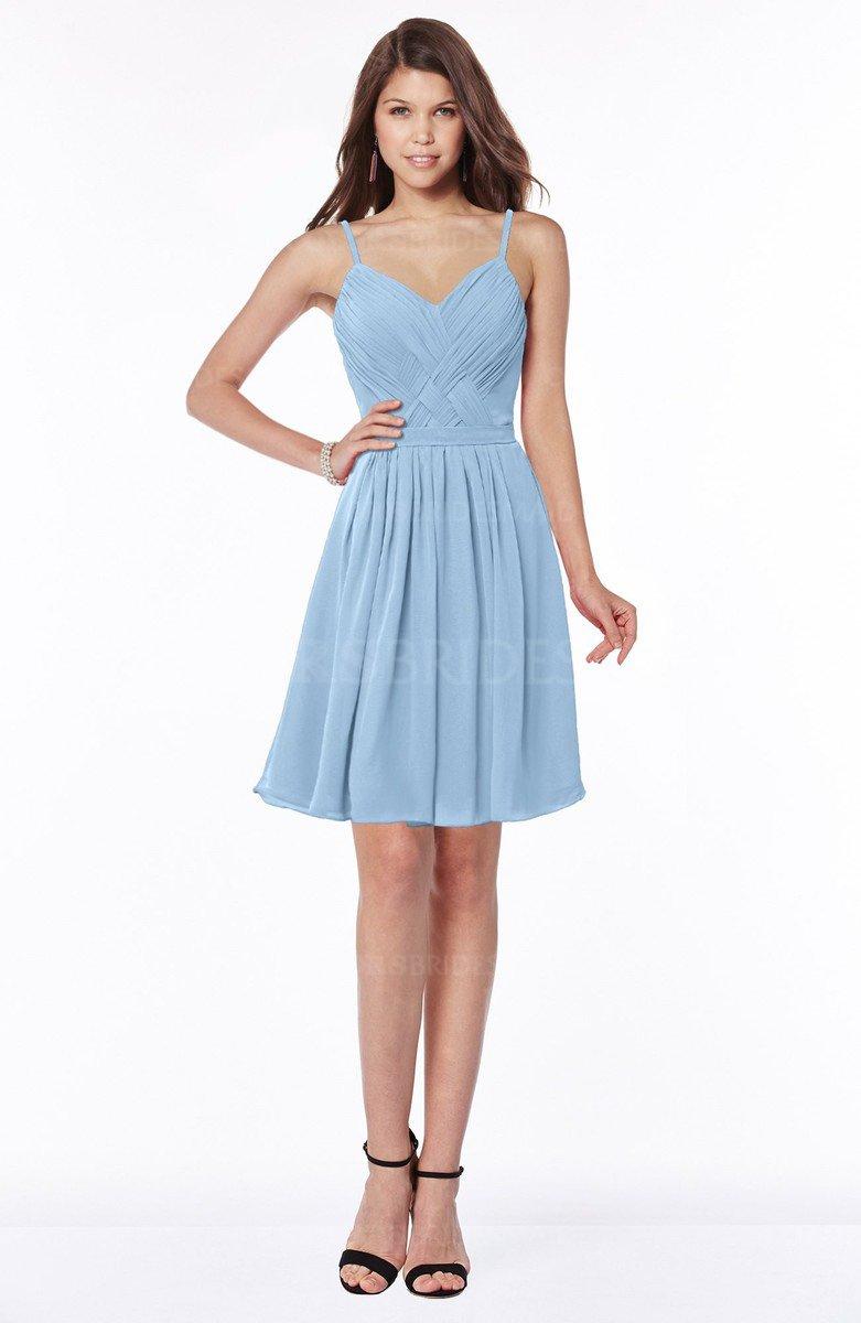 4b299fb540a ColsBM Vera Sky Blue Modest A-line Sleeveless Zip up Knee Length Ruching Bridesmaid  Dresses