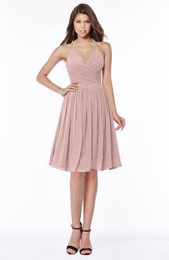 ColsBM Raine Blush Pink Traditional Halter Sleeveless Chiffon Knee Length Bridesmaid Dresses
