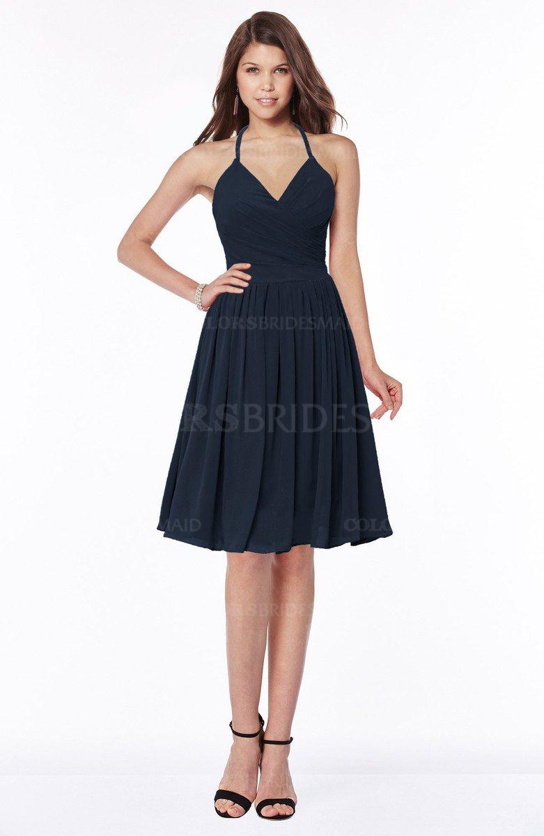 Navy blue traditional halter sleeveless chiffon knee length traditional halter sleeveless chiffon knee length bridesmaid dresses ombrellifo Gallery