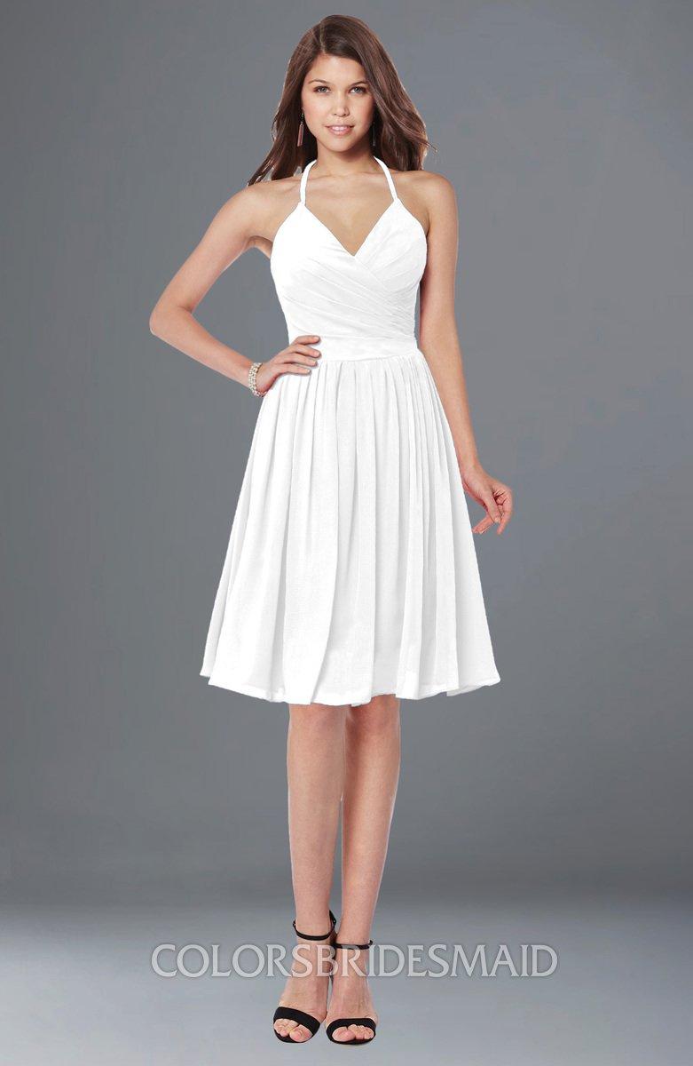 29b5b2a1ea48 ColsBM Raine White Traditional Halter Sleeveless Chiffon Knee Length  Bridesmaid Dresses