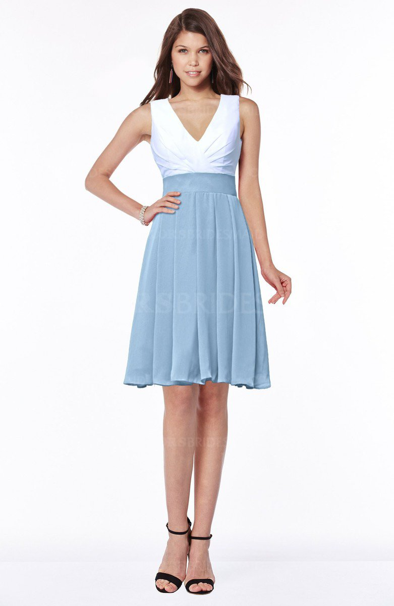 23f5ddd6391 ColsBM Jolie Sky Blue Gorgeous A-line V-neck Sleeveless Chiffon Bridesmaid  Dresses