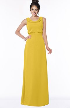 ColsBM Eileen Lemon Curry Gorgeous A-line Scoop Sleeveless Floor Length Bridesmaid Dresses
