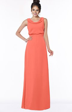 ColsBM Eileen Living Coral Gorgeous A-line Scoop Sleeveless Floor Length Bridesmaid Dresses
