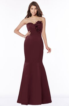 ColsBM Linda Burgundy Glamorous Fishtail Sweetheart Half Backless Satin Flower Bridesmaid Dresses