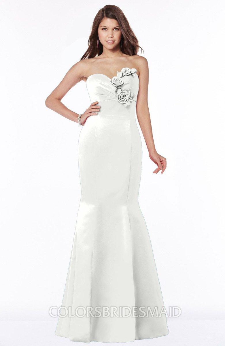 410366b52ac ColsBM Linda Cloud White Glamorous Fishtail Sweetheart Half Backless Satin  Flower Bridesmaid Dresses