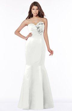 ColsBM Linda Cloud White Glamorous Fishtail Sweetheart Half Backless Satin Flower Bridesmaid Dresses
